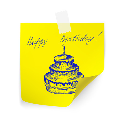 paper note: Happy birthday on yellow sticker paper note