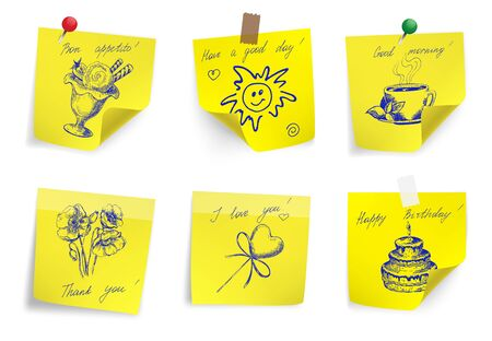 Set of yellow sticker paper note. Vector illustration. Vector