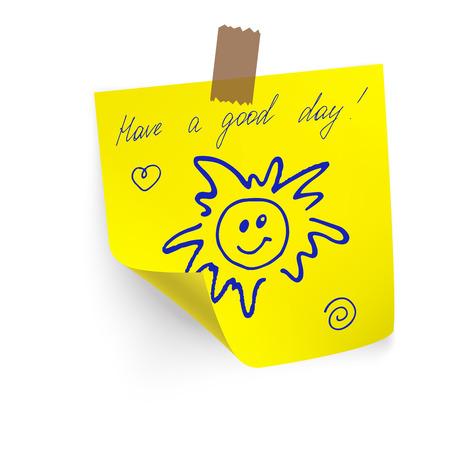 Passez une bonne journée sur l'autocollant jaune papier Note Banque d'images - 38625700