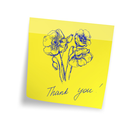 paper note: Thank you on yellow sticker paper note Illustration