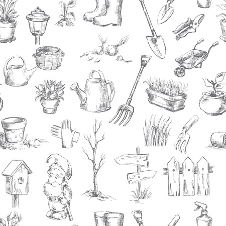 Garden icons set. Sketch converted to vectors.