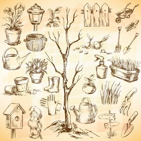Garden icons set. Sketch converted to vectors. Vector
