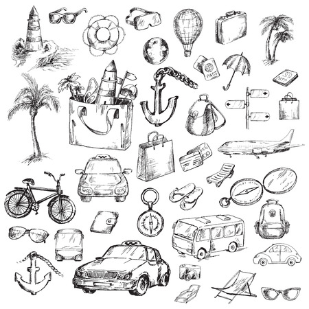 converted: Travel icons set. Sketch converted to vectors.