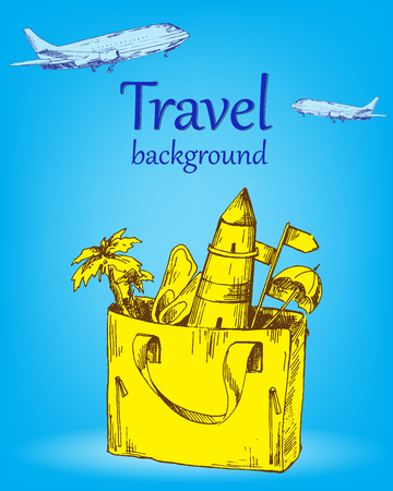 converted: Travel background color. Sketch converted to vectors.