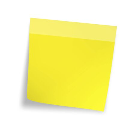 yellow note: Yellow sticker paper note. On white background.