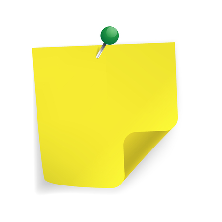 paper note: Yellow sticker paper note. On white background.
