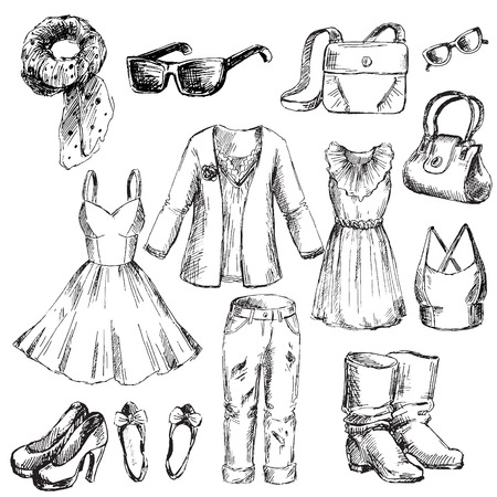 Set of clothes for women. Pen sketch converted to vectors.