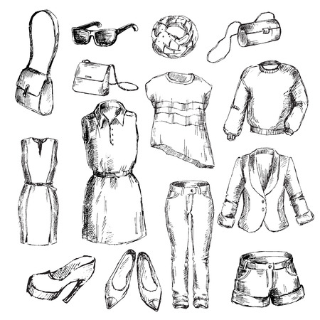 for women: Set of clothes for women. Pen sketch converted to vectors.
