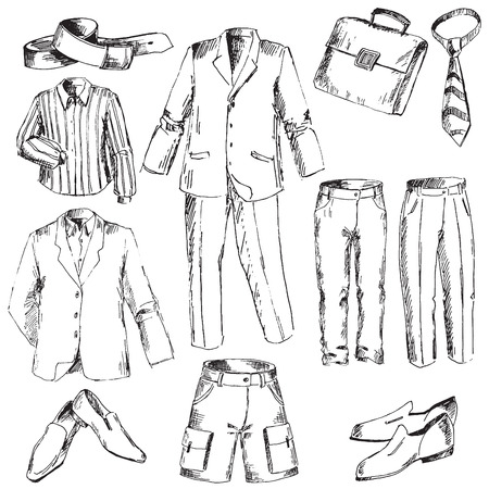 converted: Set of business clothes for men. Pen sketch converted to vectors.