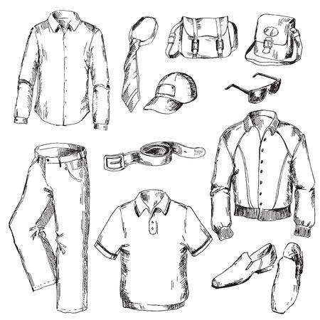 bermudas: Conjunto de ropa para hombres. Bosquejo de la pluma convierte en vectores.
