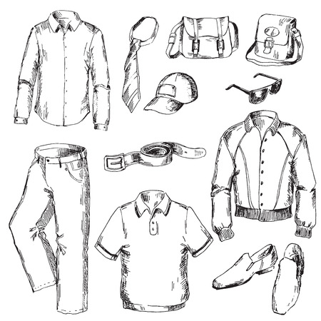 fashion shoes: Set of clothes for men. Pen sketch converted to vectors.