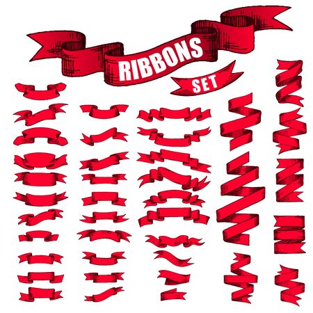 converted: Big Red Ribbons Set, Isolated On White Background. Sketch converted to vectors.