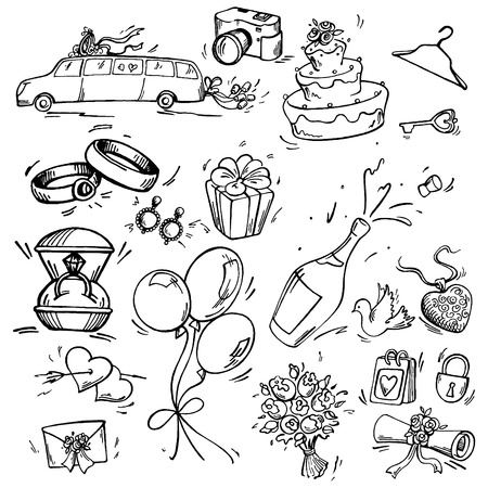 heart gift box: Set of wedding icon Pen sketch converted to vectors. Illustration