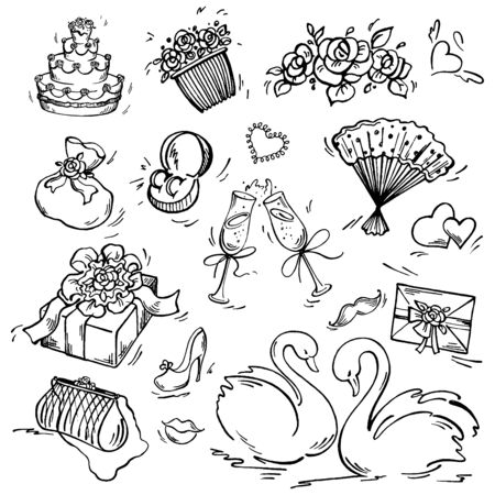 converted: Set of wedding icon Pen sketch converted to vectors. Illustration