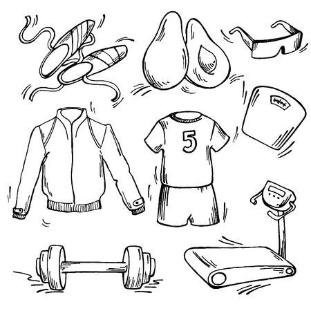 Set of sport icon. Pen sketch converted to vectors. Vector