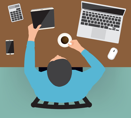man at the phone: Workplace top concept Flat design Vector illustration.