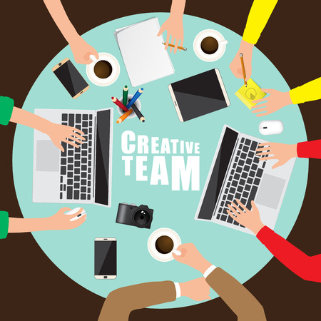 Working place of creative team in flat design. Vector illustration