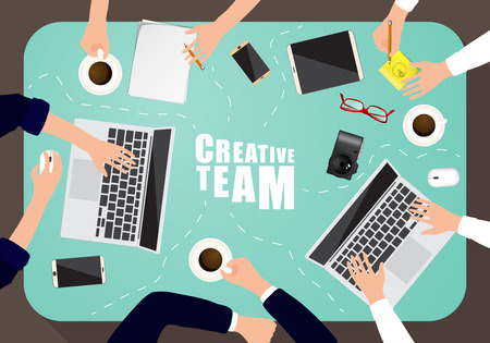 working place: Working place of creative team in flat design. Vector illustration