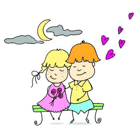 pareja abrazada: Joven pareja pasa tiempo juntos. Diseño para San Valentín