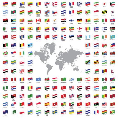ikony: Świat flagi wszystkich oficjalnych wektorowych kolor izolowane