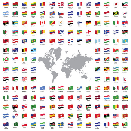 geography of europe: World flags all vector color official isolated