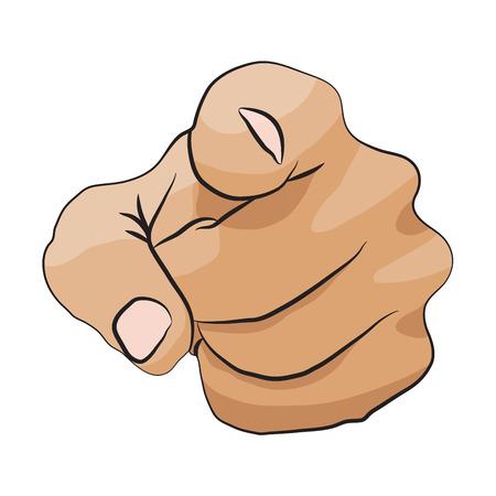 te negro: Quiero vector icono que señala la mano aisladas sobre fondo blanco Vectores