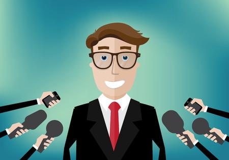 relaciones publicas: hombre de negocios sonriente entrevistó a varios periodistas con micrófonos