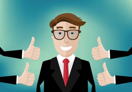 glimlachende zakenman en verschillende handen met duim omhoog