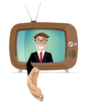 reach out: smiling businessman holds out his hand out of the TV Illustration