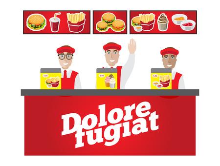 de kassiers achter de balie te wachten op klanten fast food Stock Illustratie