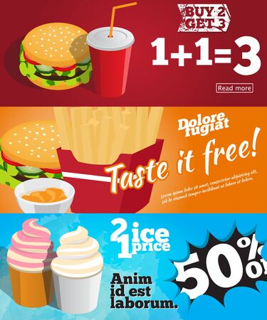 blanks: collection of blanks to create a banner or a flyer on the topic of fast food