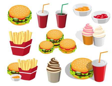 unhealthy food: the collection of icons is not the topic of food for fast food