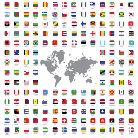 krajina: Světové vlajky všechny vektorové barevné oficiální izolované