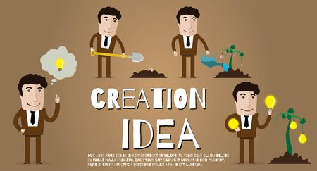 invents: Happy businessman invents and sells its new idea Illustration
