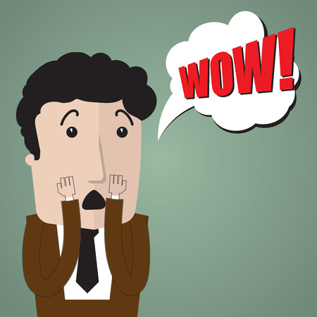sorprendido: Muy sorprendido por algo o alguien negocios Vectores