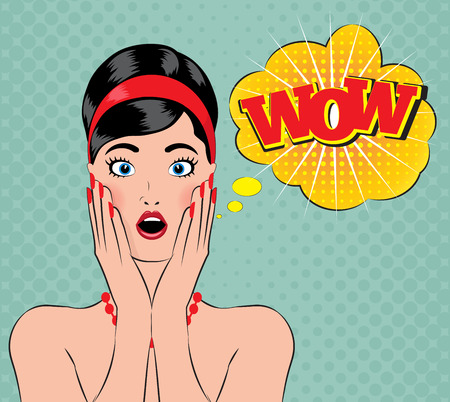 Estilo Pin-para arriba wow mujeres con la boca abierta