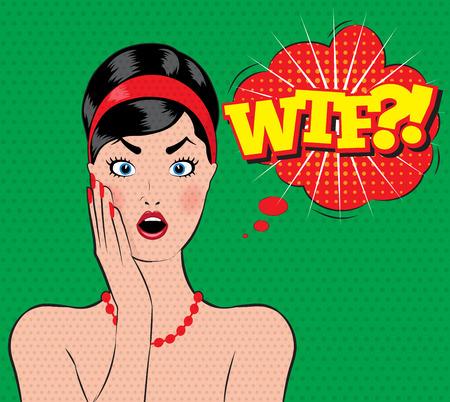 wow: mujeres del estilo pin-up sorprende a todos con la boca abierta wtf Vectores