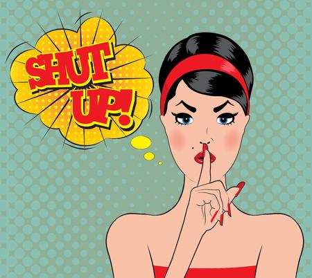 wow: Pin-up de estilo wow mujeres con la boca abierta encerrados Vectores