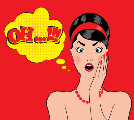 wow: Pin-up style wow women with open mouth oh no