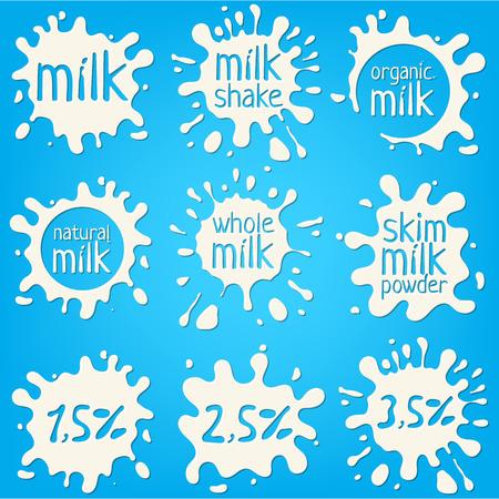 Set white milk splash and blot. Isolated on blue
