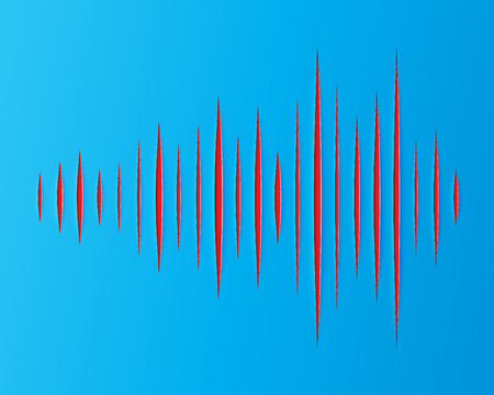 vibrations: paper strips are cut in the form of sound waves sign