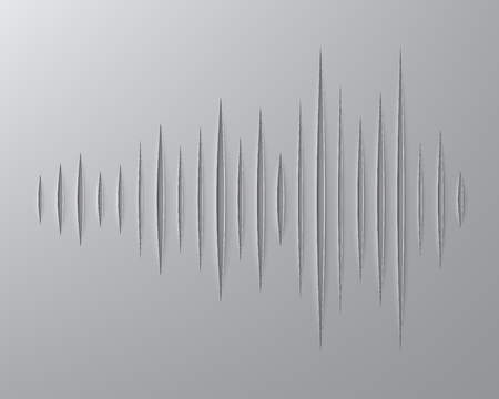 wavelength: paper strips are cut in the form of sound waves sign