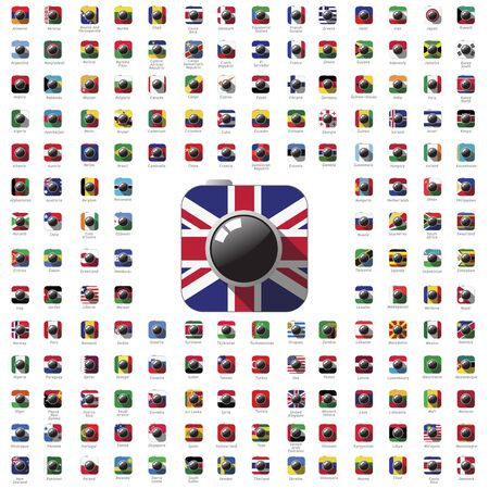 world flag: icon camera world flag travel vector color