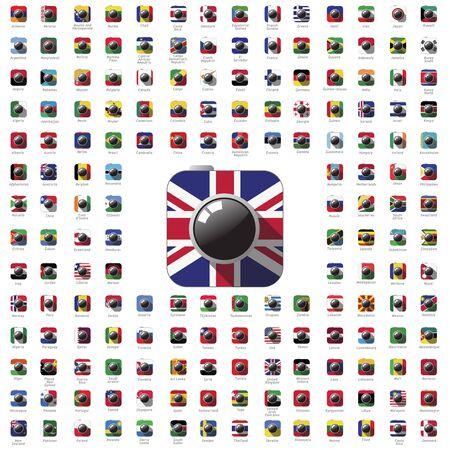 banderas del mundo: icono de cámara color de la bandera vector viajar