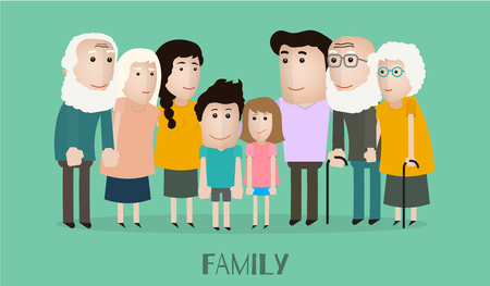 full length portrait: vector portrait family with grandfather grandmother mother son daughter and father