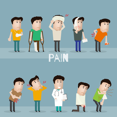 Sick characters set of people with pain and diseases vector illustration. Ilustracja