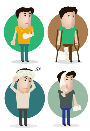 sick people: Sick characters set of people with pain and diseases vector illustration. Illustration
