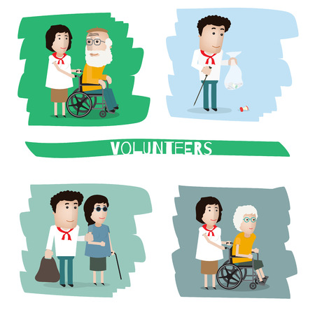 helps: a volunteer helps a disabled person, collects the garbage, helps the blind Illustration