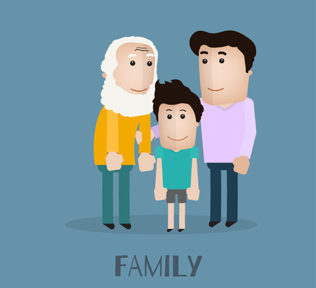 father and son: vector portrait family with grandfather son and father Illustration