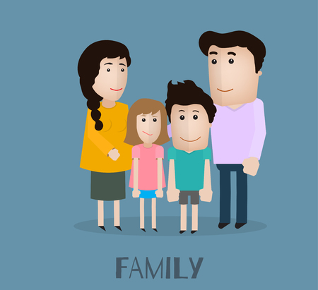 full length portrait: vector portrait family with mother son daughter and father